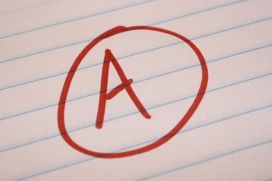 A grade on high school test