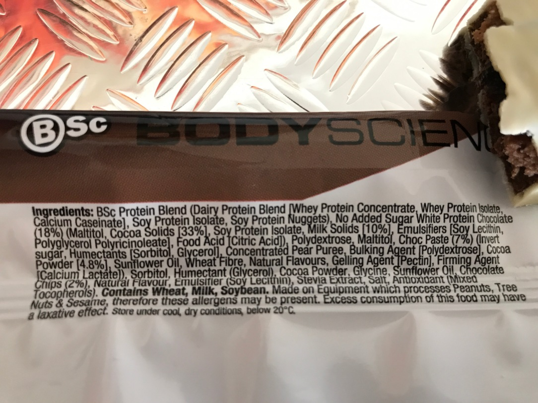 BSc high protein bar review ingredients