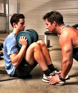 Intense core training using a dumbell